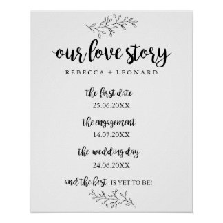 love story timeline wedding sign rustic botanical