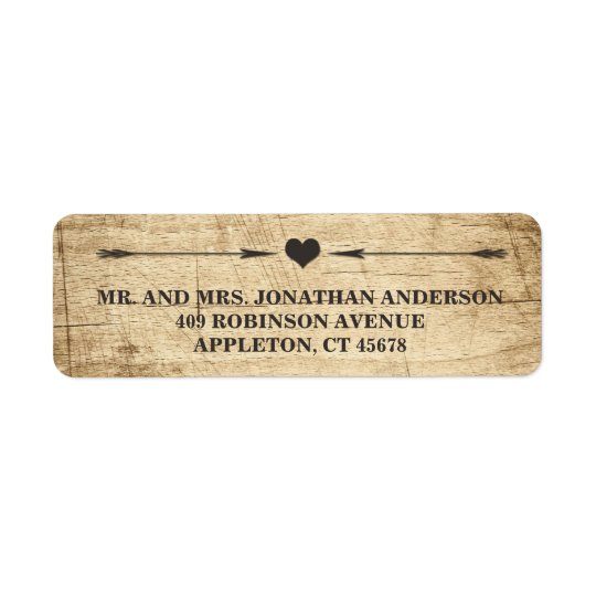Love Story Typography Vintage Barn Wood Label Return