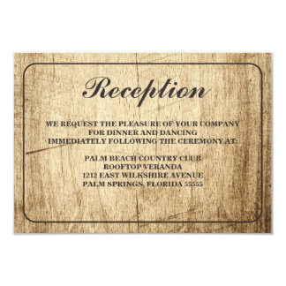 Love Story Typography Vintage Barn Wood Reception Card