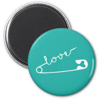 Love Strength Together Aqua 6 Cm Round Magnet