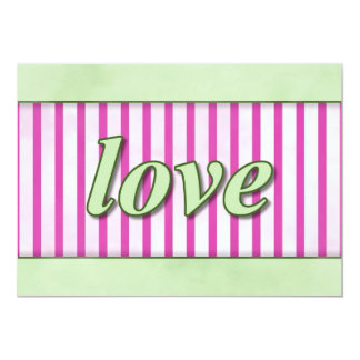 """Love"" Striped Background Magenta Green 5"" X 7"" Invitation Card"