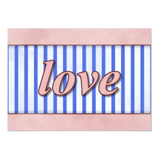 """""""Love"""" Striped Background Pink Red Blue 5"""" X 7"""" Invitation Card"""