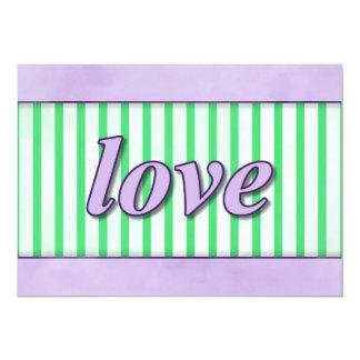 """Love"" Striped Background Purple Green 5"" X 7"" Invitation Card"
