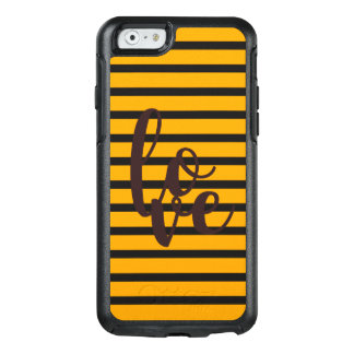 Love Stripes Black Orange Background OtterBox iPhone 6/6s Case