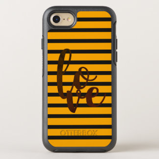 Love Stripes Black Orange Word Cool Simple Vibrant OtterBox Symmetry iPhone 7 Case