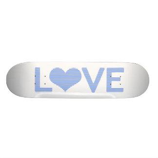 LOVE - strips - blue and white. Skateboard Decks