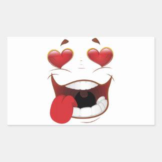 Love Struck Funny Face Rectangular Sticker