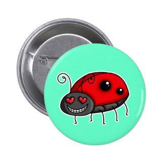 Love Struck Ladybird/Ladybug 6 Cm Round Badge