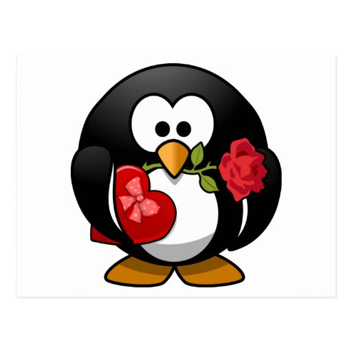 Love Struck Penguin With Valentine Gifts Post Card