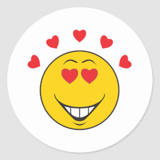 Love Struck  Smiley Face Round Sticker