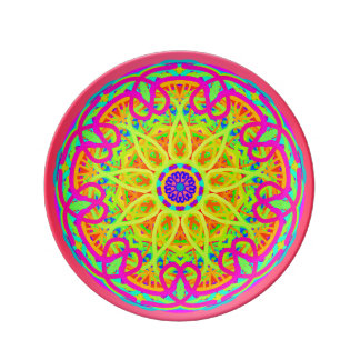 Love Surrounds Us Neon Mandala Porcelain Plate