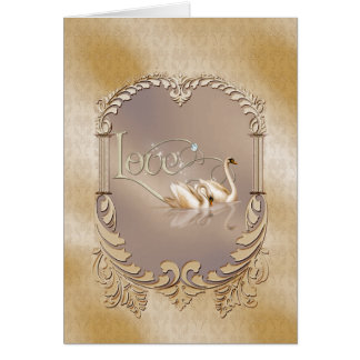 Love Swans Wedding Greeting Card