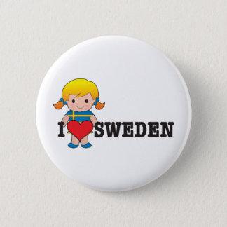 Love Sweden 6 Cm Round Badge