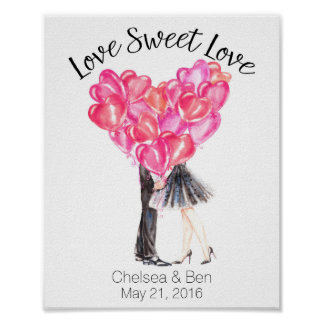 Love Sweet Love, Kissing Couple, Personalized Poster