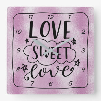 LOVE-SWEET-LOVE LILAC FOIL Design Square Wall Clock