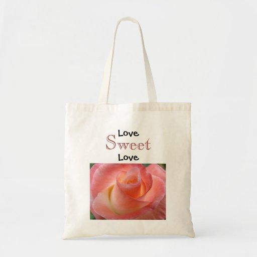 Love Sweet Love tote bags Pink Rose Flower