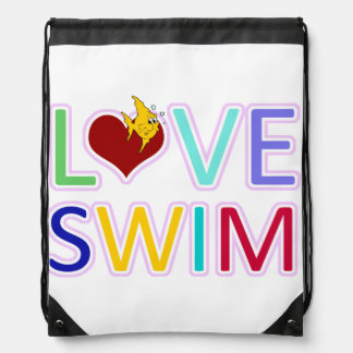 Love Swim Drawstring Bag