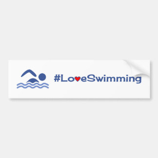Love swimming blue on white bumper sticker