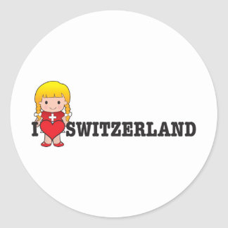 Love Switzerland Classic Round Sticker
