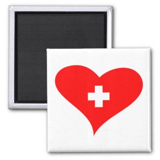 Love Switzerland - Swiss heart fridge magnet