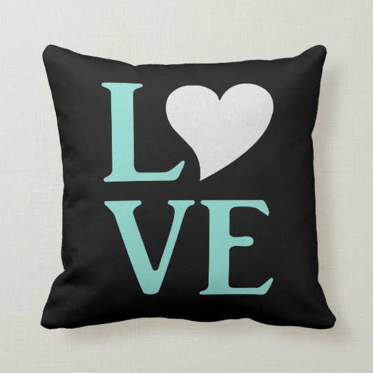 Love Teal Blue And Black Party Throw Pillow
