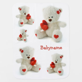 Love Teddy Valentine custom baby blanket