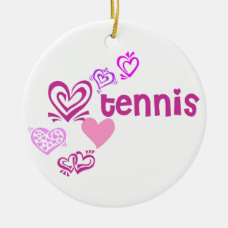 Love Tennis Round Ceramic Decoration