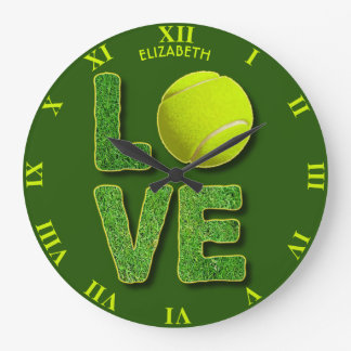 Love Tennis Yellow Ball Green Grass Letters Large Clock