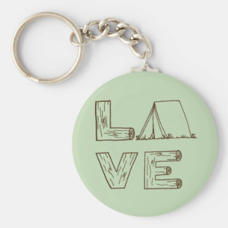 Love Tent Camping Basic Round Button Key Ring