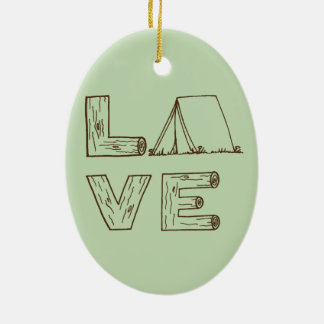 Love Tent Camping Christmas Ornament