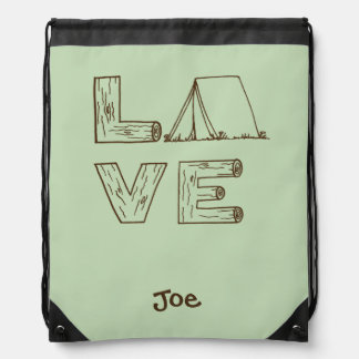 Love Tent Camping Hand Lettering with Name Rucksacks