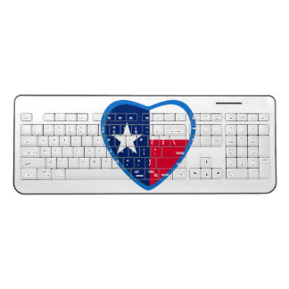 Love Texas Heart Flag Wireless Keyboard