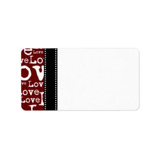 Love Text Address Labels in Merlot