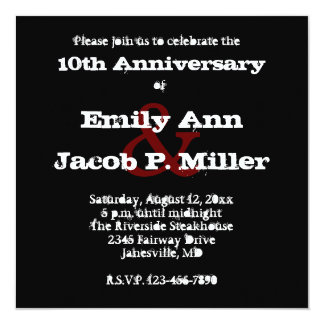 Love Text Anniversary Party Invitations in Merlot