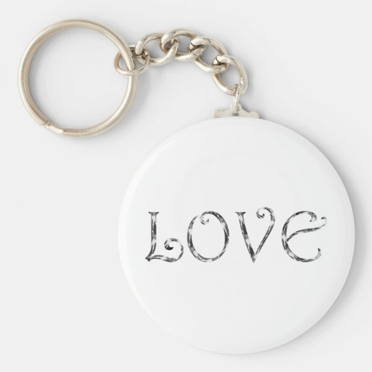 Love text basic round button key ring