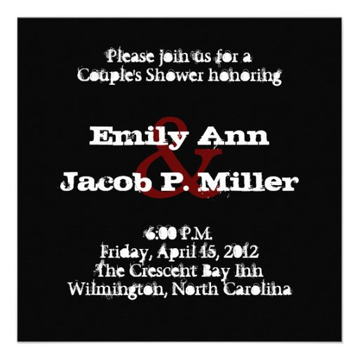 Love Text Couple's Shower in Merlot Personalized Invitations
