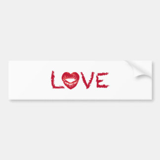 love text design lipstick writing with red heart bumper sticker