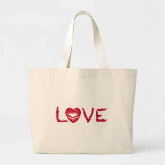 love text design lipstick writing with red heart jumbo tote bag
