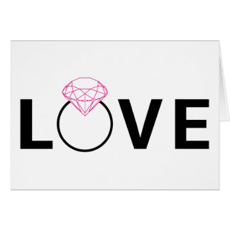 Love text design with diamond ring greeting card