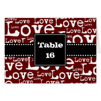 Love Text Folded Table Number Cards in Merlot