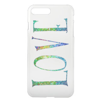 Love- Text In Colorful Glitter iPhone 7 Plus Case