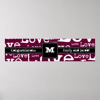 Love Text Monogram Congratulations Poster in Plum