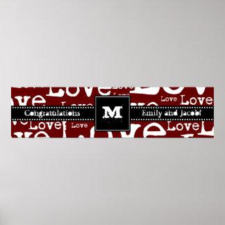 Love Text Monogram Congratulations Poster Merlot