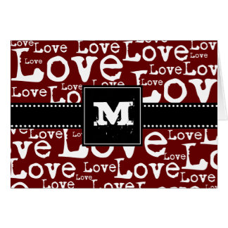 Love Text Monogram Thank You Cards in Merlot