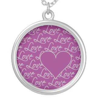 Love Text necklace, customize Silver Plated Necklace