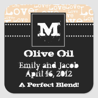 Love Text Olive Oil Favor Tags in Cream Square Sticker