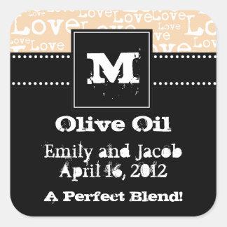 Love Text Olive Oil Favor Tags in Cream Square Sticker