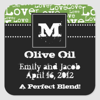 Love Text Olive Oil Favor Tags in Lime Square Sticker