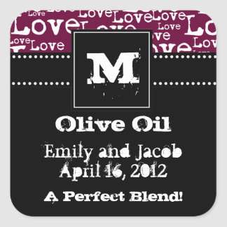 Love Text Olive Oil Favor Tags in Plum