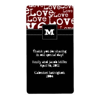 Love Text Personalized Wine Labels in Merlot